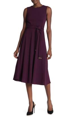 Calvin Klein Belted Fit & Flare Crepe Midi Dress