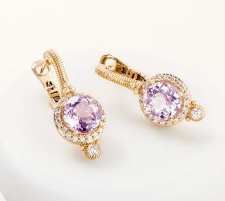 Judith Ripka 14K Gold Kunzite & Diamond Earring 4.50cttw