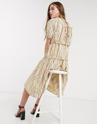 Lost Ink midi smock dress with volume tiers in abstract squiggle print