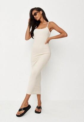 Missguided Sand Rib Strappy Midi Dress
