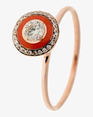 Selim Mouzannar Coral Enamel and Diamond Ring