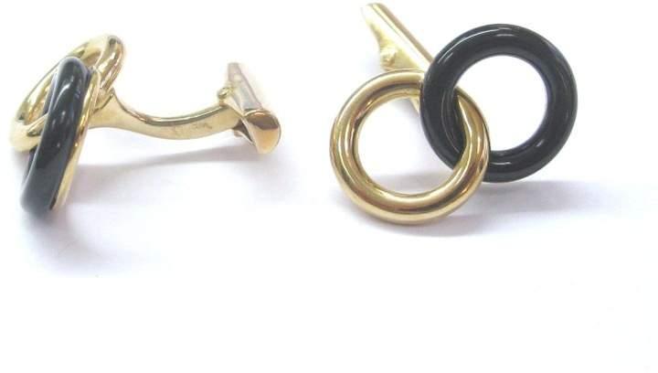 Bijan 18K Yellow Gold Oynx Cufflinks