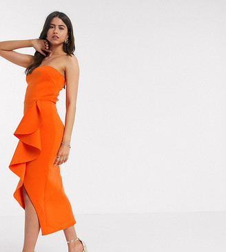 True Violet exclusive bandeau frill midi dress in orange