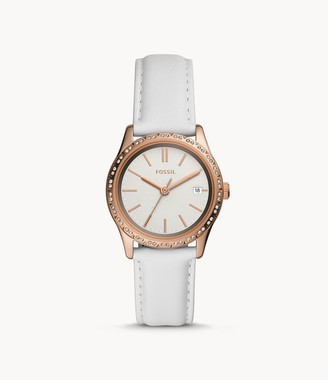 Fossil Adalyn Three-Hand White Leather Watch jewelry