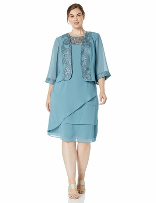 Le Bos Women's Plus Size Embroidered Trim Tiered Jacket Dress