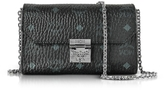MCM Millie Visetos Black Coated Canvas Medium Flap Crossbody