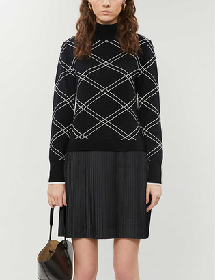 Ted Baker Floriiy Mockable check wool-blend dress