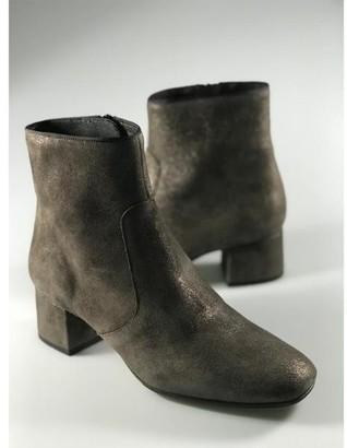 Kanna Carina Bunny Olive Green Metallic Leather Boots - 41