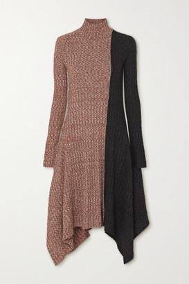 J.W.Anderson Asymmetric Two-tone Melange Merino Wool Turtleneck Dress - Brown