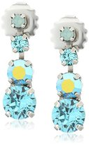 "Sorrelli Teal Textile"" Descending Round Crystal Post Drop Earrings"