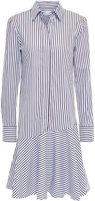 Victoria Victoria Beckham Victoria, Victoria Beckham Fluted Striped Cotton-poplin Shirt Dress