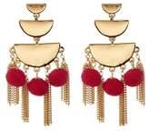 Rebecca Minkoff Triple Tiered Pompom Chandelier Earrings