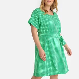 Printed Tie-Waist Shift Dress