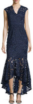Shoshanna Sleeveless Lace Mermaid Gown, Navy