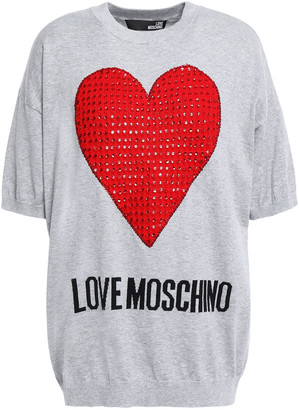 Love Moschino Sequin-embellished Intarsia Cotton Top