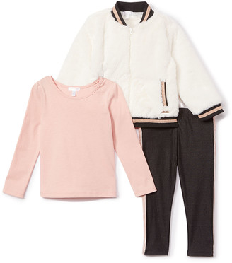 Tahari Baby Girls' Non-Denim Casual Jackets WHITE - White Glitter Faux Fur Bomber Jacket Set - Infant & Toddler