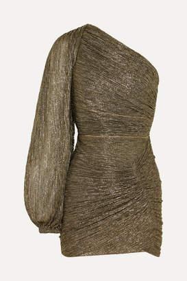 Peter Pilotto One-sleeve Plisse-jersey Mini Dress - Gold