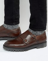 Asos Monk Shoe In Brown Leather