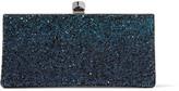 Jimmy Choo Celeste Small Dégradé Glittered Leather Clutch - Cobalt blue