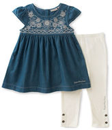 Calvin Klein Two-Piece Woven Embroidered Tunic and Capri Pants Set