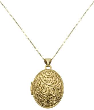 Moon & Back 9ct Gold Oval 4 Photo Locket 18 Inch Necklace