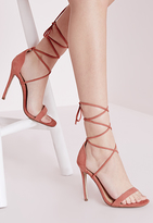 Missguided Lace Up Barely There Heeled Sandals Pink