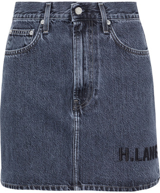 Helmut Lang Femme Hi Embroidered Faded Denim Mini Skirt