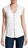 Elie Tahari Harley Sleeveless Crochet-Trim Knit Top, White