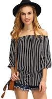 DaySeventh Fashion Sexy Women Off The Shoulder Striped Casual Loose T-Shirt Tops Blouse (S)