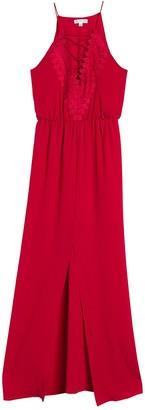 Socialite Lace Trim Split Hem Maxi Dress