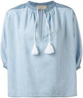 MAISON KITSUNÉ slit neck denim blouse - women - Cotton - 36