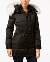 1 Madison Expedition Fox-Fur-Trim Hooded Puffer Coat