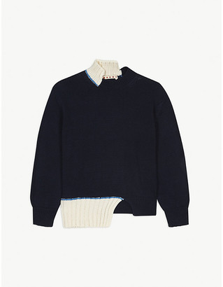 Marni Asymmetric knitted cotton jumper 6-14 years