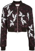 Self-Portrait Cropped Guipure Lace And Satin Bomber Jacket - Black