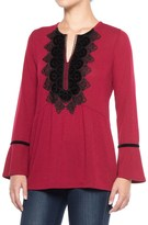 August Silk Velvet Applique Shirt - Long Sleeve (For Women)