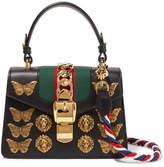 Gucci Sylvie Mini Embellished Leather Shoulder Bag - Black