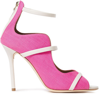 Malone Souliers Mika Scalloped Leather-trimmed Two-tone Linen Sandals