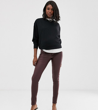 Mama Licious Mamalicious Maternity coated skinny jeans with bump band in burgundy