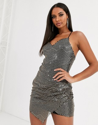 Love & Other Things sequin wrap cami dress