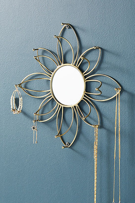 Anthropologie Mirrored Flower Jewelry Organizer By in Silver Size ALL