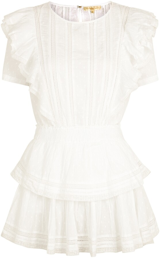 Thumbnail for your product : LoveShackFancy Natasha white lace-trimmed cotton mini dress