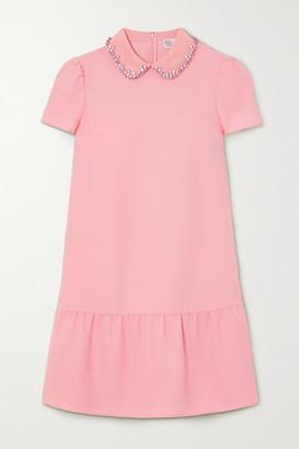 RED Valentino Crystal-embellished Ruffled Crepe Mini Dress - Blush