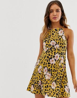 ASOS DESIGN mini square neck skater sundress in animal floral