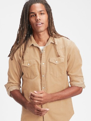 Gap Corduroy Western Shirt in Slim Fit