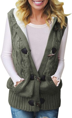 LOSRLY Womens Cable Knit Hooded Sweater Vest Casual Blouses Top Cozy Casual Button Down Jumpers Cardigan Green