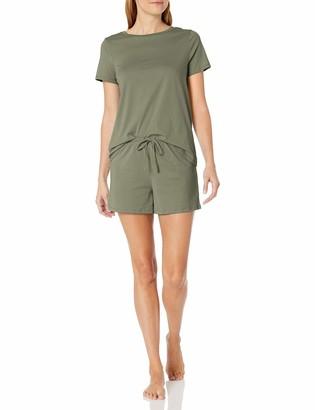 Amazon Essentials Women's 100% Cotton Short Sleeve Pajama Set