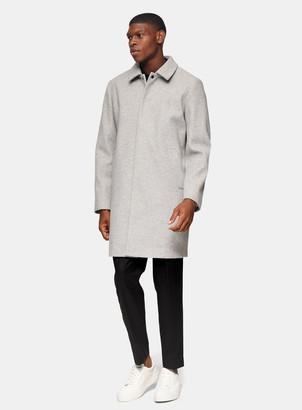 Topman Grey Classic Fit Overcoat