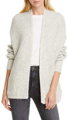 Line Waffle Knit Open Front Cardigan