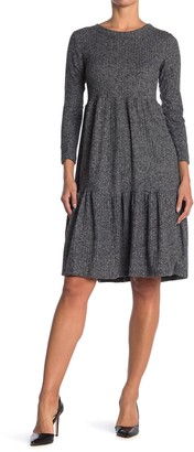 CENY Crew Neck Long Sleeve Smocked Midi Dress
