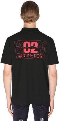 Martine Rose Logo Print Cotton Pique Polo Shirt